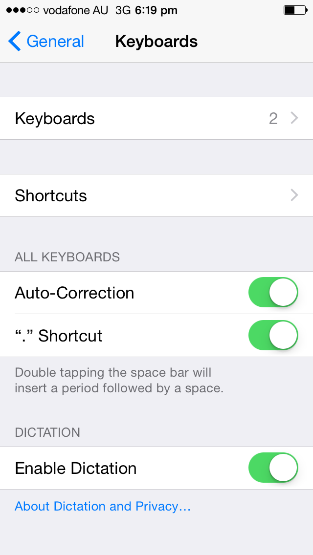 Iphone Settings Keyboards