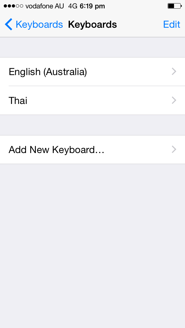 Iphone Settings Thai Keyboard